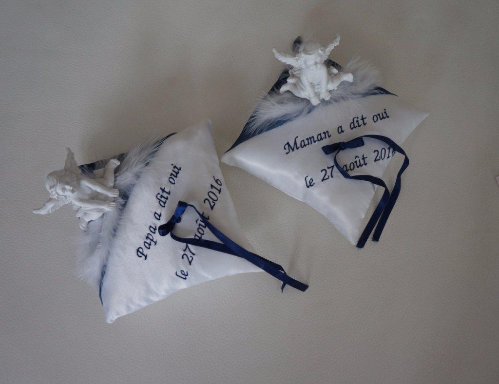 Création de coussin porte alliances personnalisé, bouquet de mariée ...