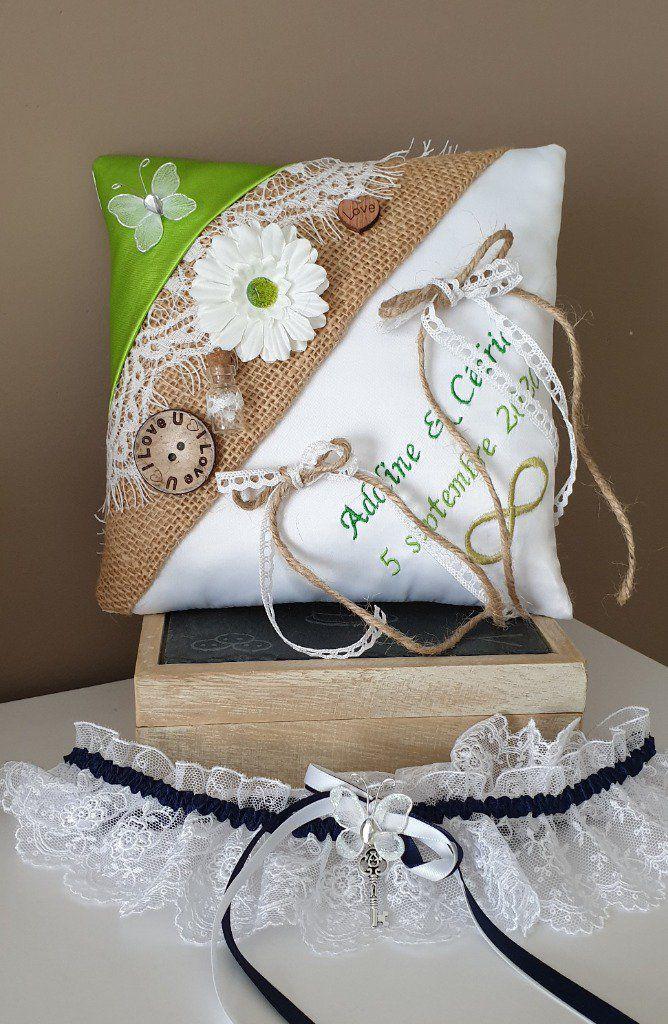 Coussin pour Alliances Ivoire Bleu Turquoise Lin//toile de jute Mariage Mariée